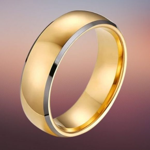 Tungsten Carbide Ring for Men - Gold with Silver RIms