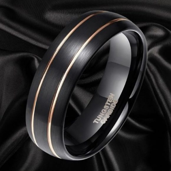 Black Ring for Men with Two Grooves of Gold