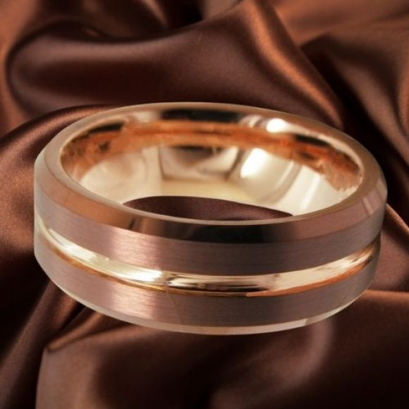 Tungsten Ring for Men - Brown and Gold