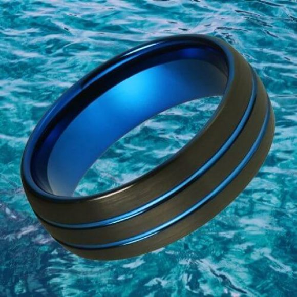 Black and Blue Men's Tungsten Ring - Dome Shaped 8mm
