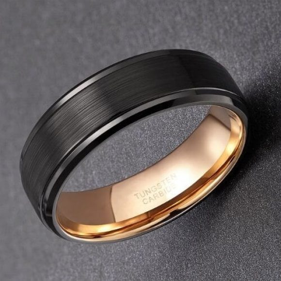 Tough tungsten carbide men's ring - black and rose gold