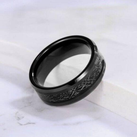 Meteorite Effect Black Tungsten Men's Ring
