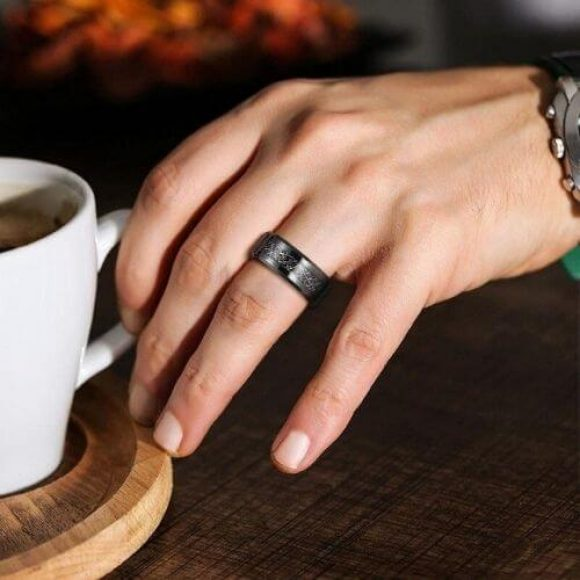 Mens Black Tungsten Ring with Faux Meteorite Inlay