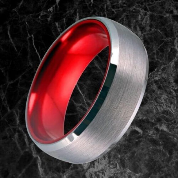 Brushed Silver Tungsten Ring for Men with Red Interior