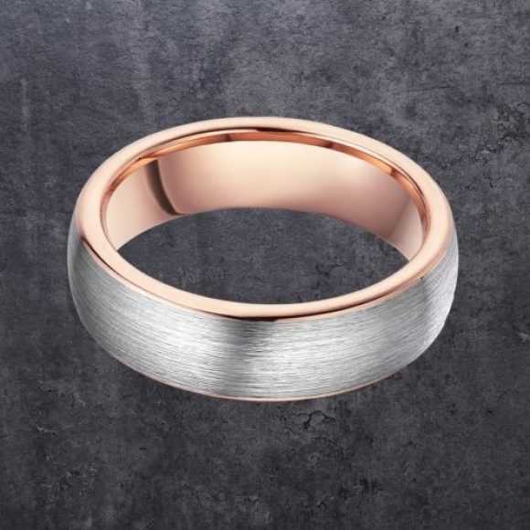 Tungsten Carbide Ring for Men - Brushed Silver and Rose Gold