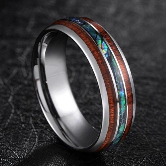 Silver tungsten ring featuring abalone shell and natural wood inlays