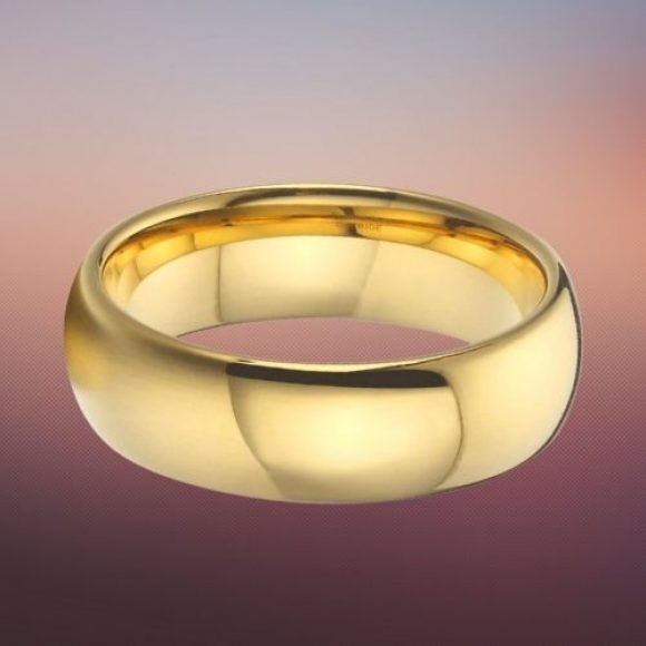 Tungsten Ring for Men - Gold, Dome Shaped Ring