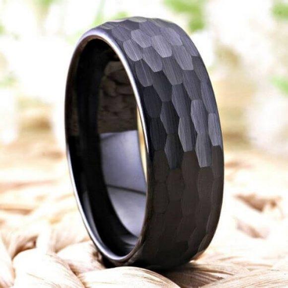 Hammered Black Men's Ring - Tungsten