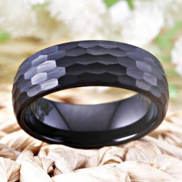 Black Tungsten Ring for Man with Hammered Finish