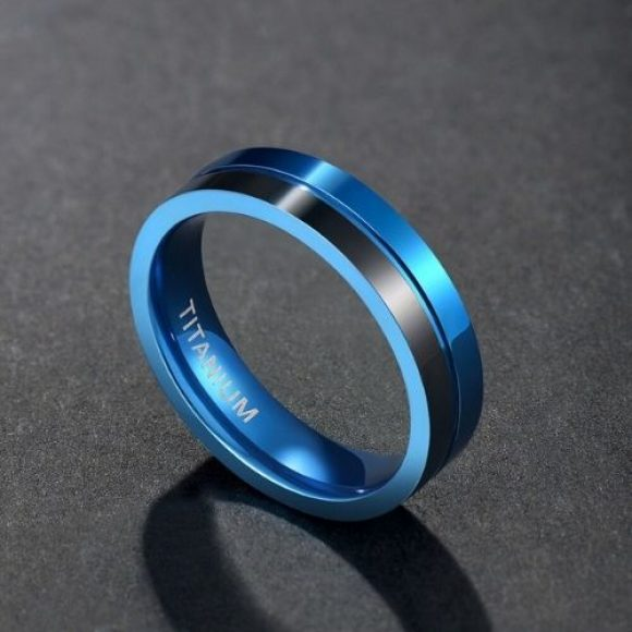 Black and Blue Ring for Men