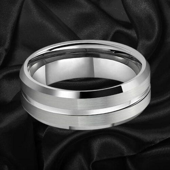 Men's Tungsten Wedding Band - Silver