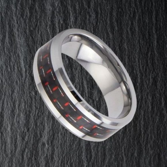 Silver Tungsten and Carbon Fibre Ring for Men