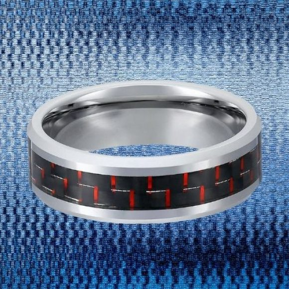 Tungsten and Carbon Fibre Ring for Men