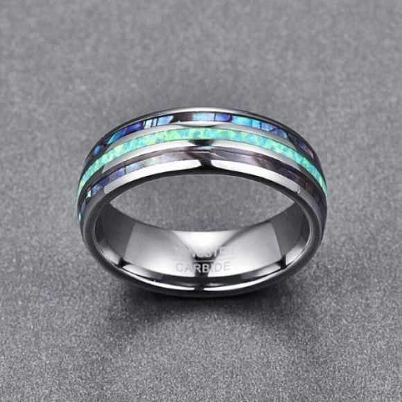 Stunning men's tungsten carbide ring with abalone shell and opal