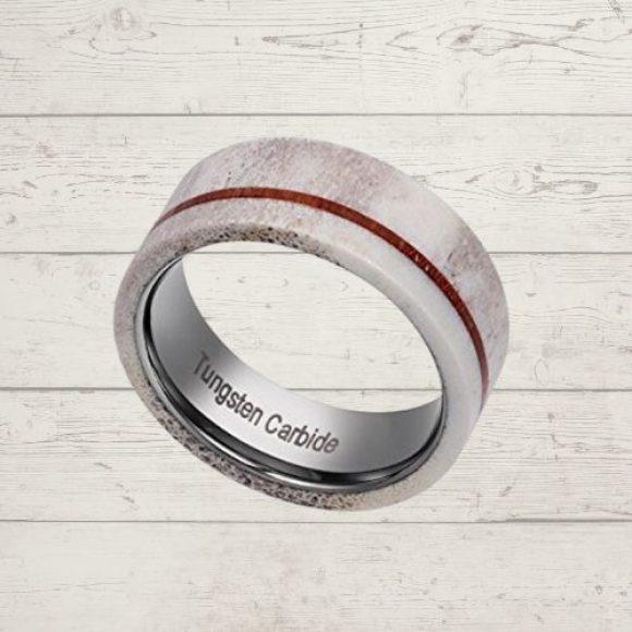 Tungsten Carbide Ring for Men - Naturally Shed Antler Bone, Koa Wood, and Silver Tungsten Carbide