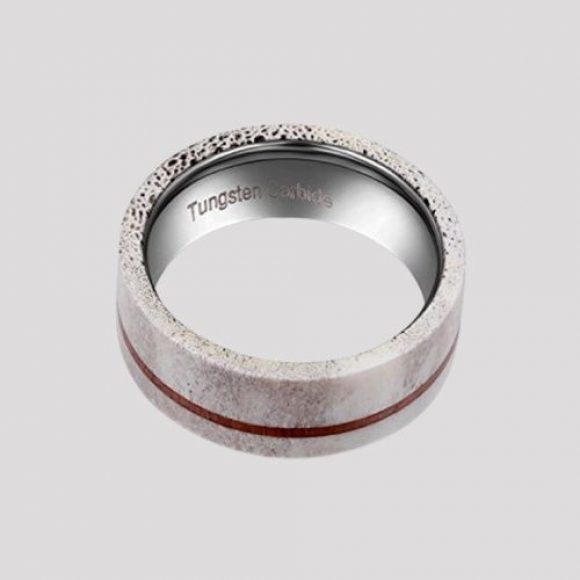 Marble effect ring for men made with naturally shed deer antler and koa wood, set on silver tungsten carbide