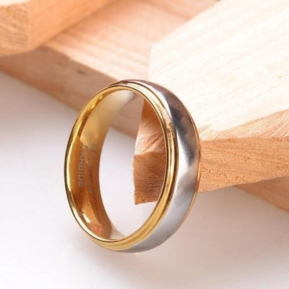 Siler and Gold Tungsten Ring for Men