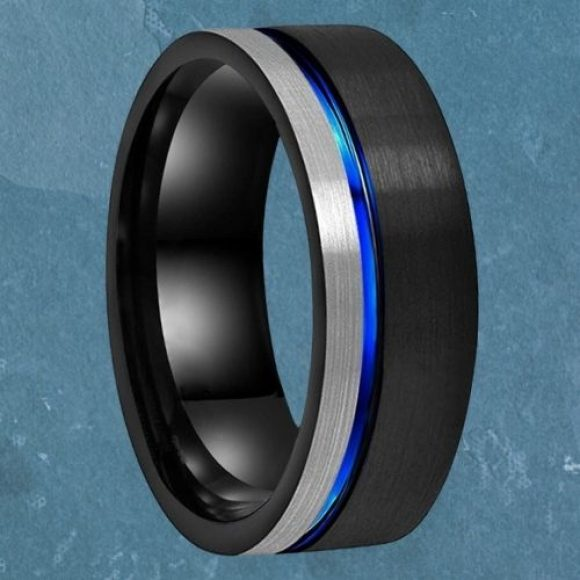 Man's Tungsten Ring - Black, Blue, Silver