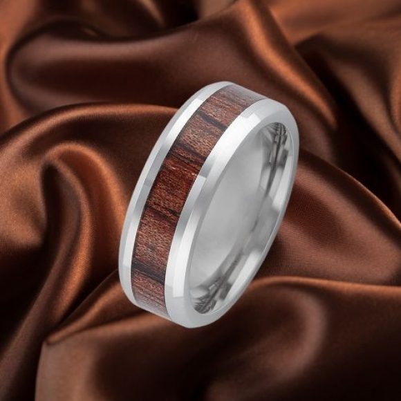 Wood and Silver Titanium Ring for Men