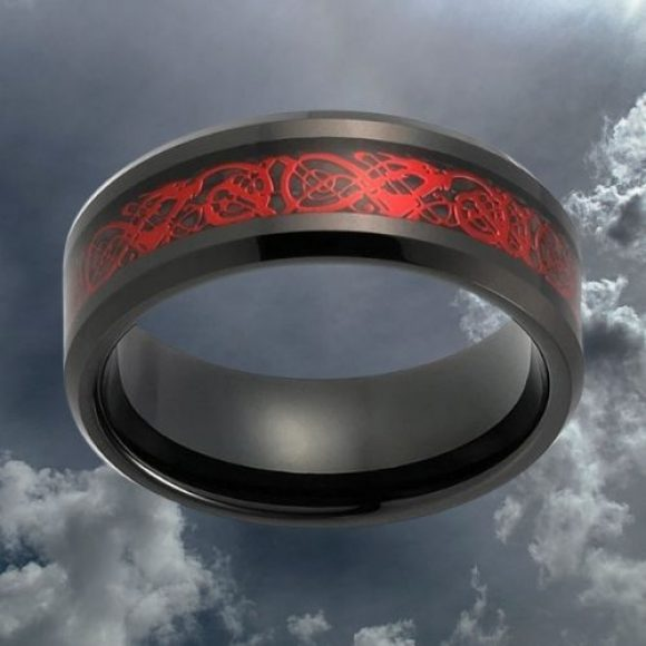 Men's Red and Black Tungsten Carbide Ring