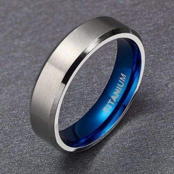 Silver and Blue Men's Ring - Titanium