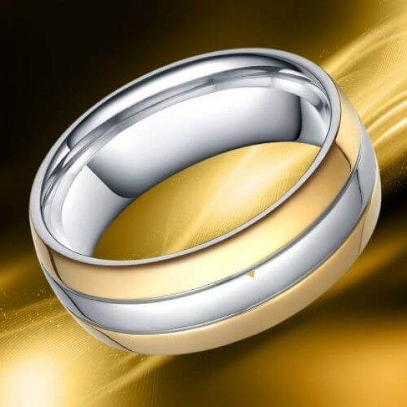 Man's Titanium Ring - Gold and Silver