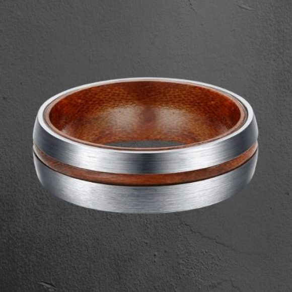Brushed Silver Titanium and Wood Ring for Men