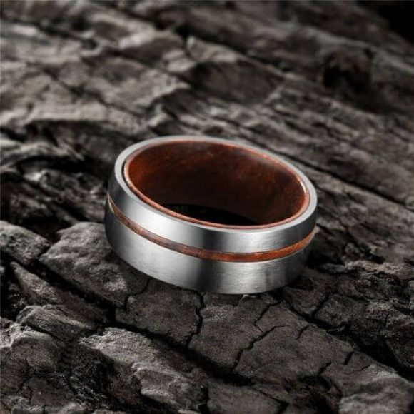 Titanium Ring for Men - Brushed Silver and Wood