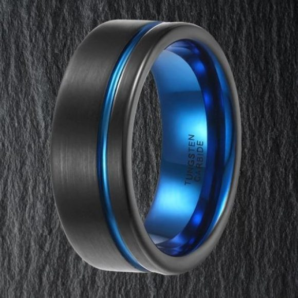 Black Ring for Men with Groove of Blue