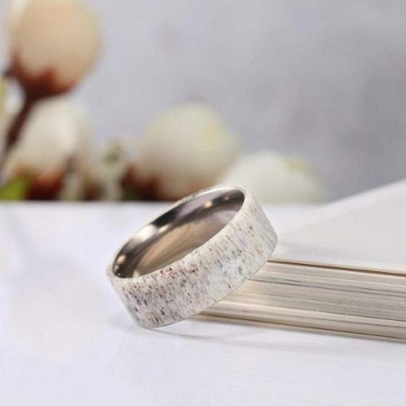 Natural colour ring made with deer antler bone for a beautiful marble effect ring for men