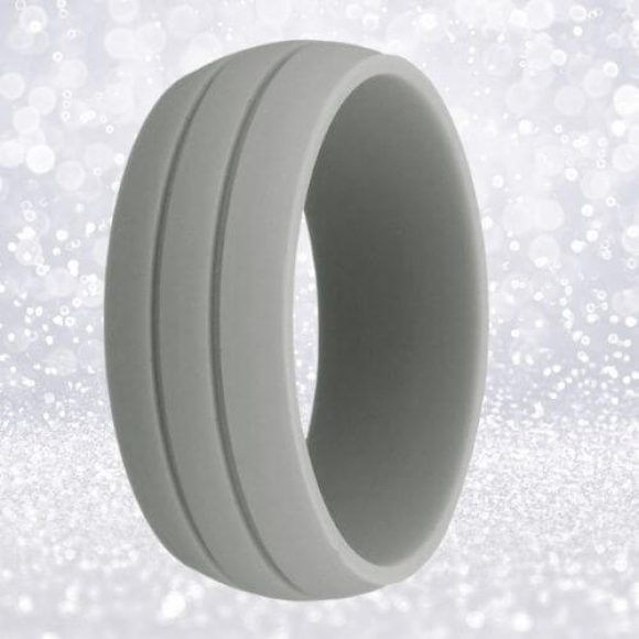 Mens light grey silicone ring