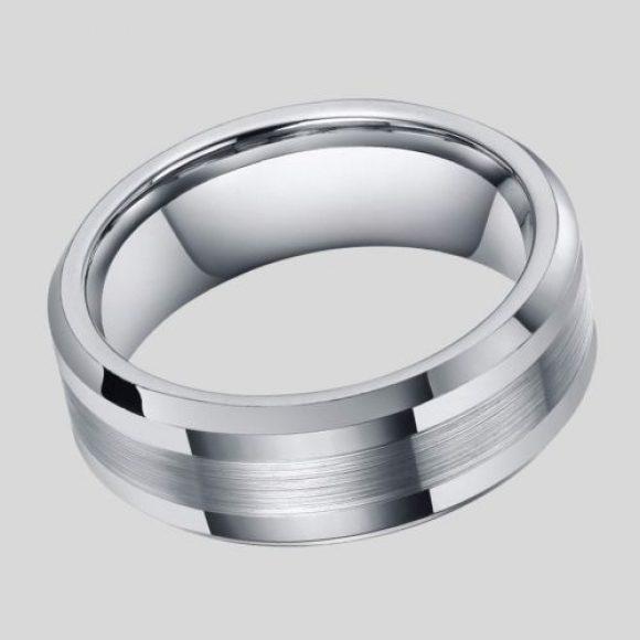 Silver Tungsten Carbide Ring for Men