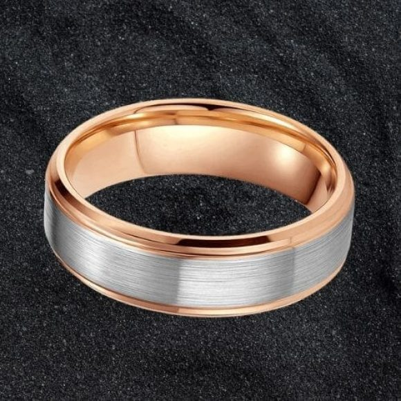 Brushed Silver and Polished Rose Gold Tungsten Ring for Men