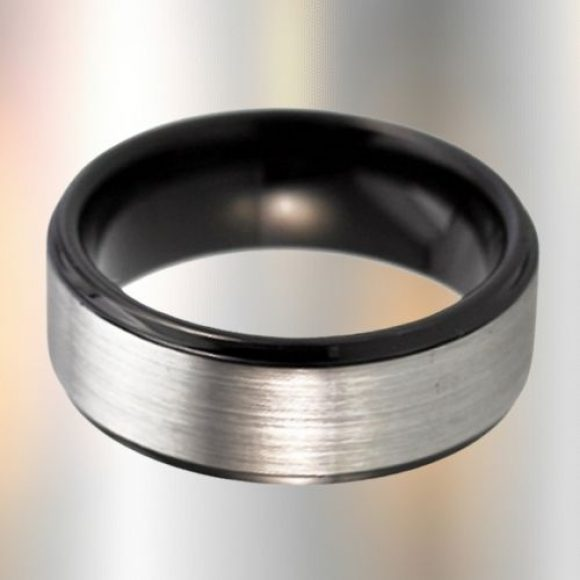 Brushed Silver and Black Tungsten Ring for Men