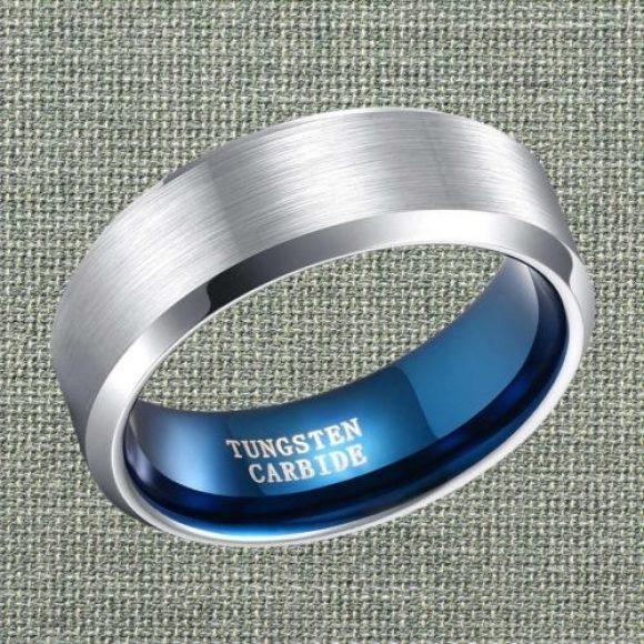 Brushed Silver Ring for Men, Polished Edges, and Blue Inside.