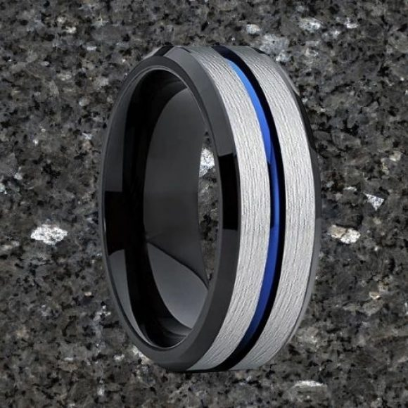 Men's Tungsten Ring - Silver, Blue, and Black