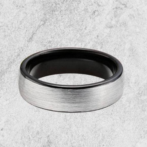 Men's Ring - Brushed Silver with Black Rims and Inside