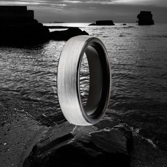 Men's Tungsten Ring - Silver and Black