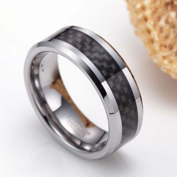 Men's Tungsten Ring with Carbon Fibre Inlay