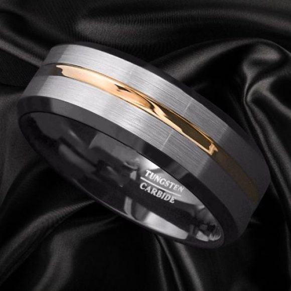 Tungsten Carbide Ring for Men - Black, Silver, and Gold