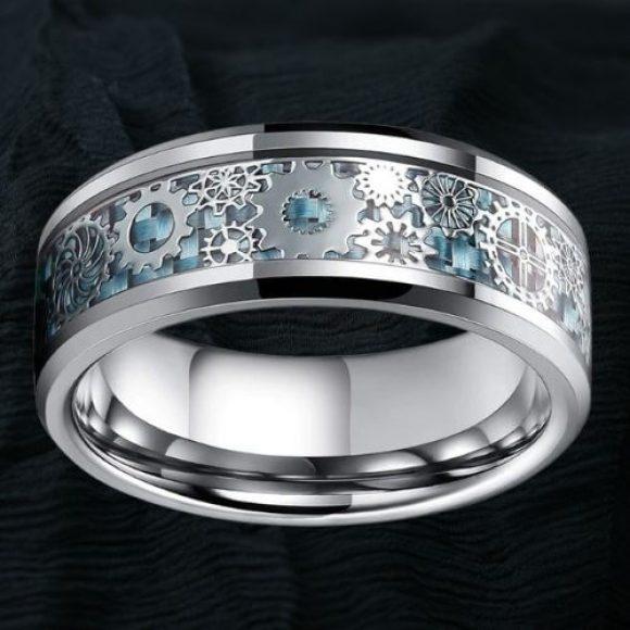 Men's Ring with Unique Gear Wheel Carbon Fibre Inlay