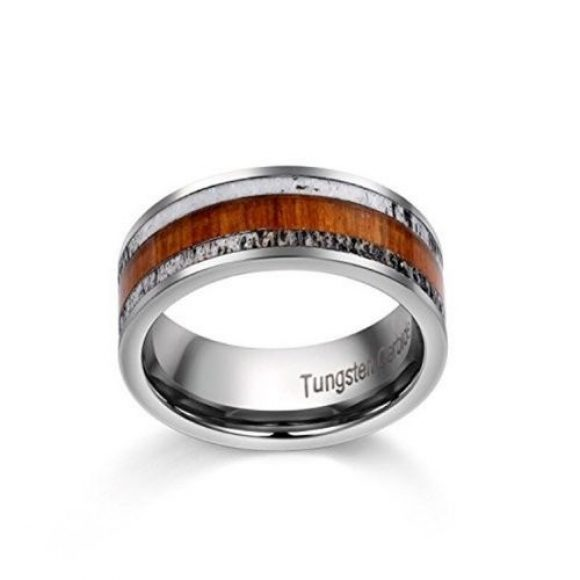 Wood and antler bone set within a silver tungsten ring designed for men