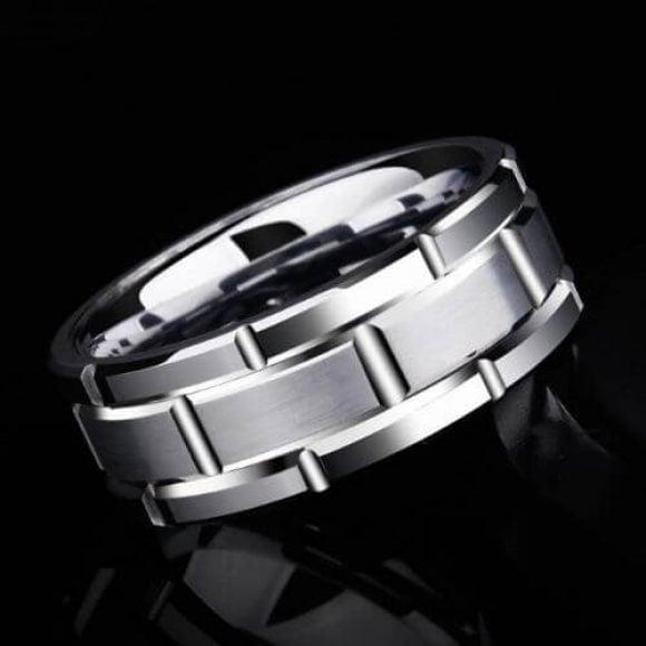 Mens Silver Tungsten Ring