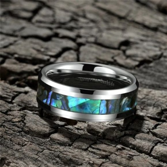 Mens Tungsten carbide ring with abalone shell