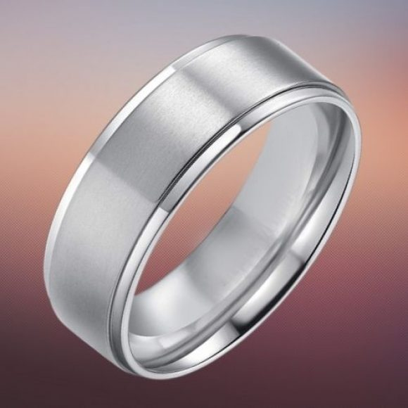 Silver Titanium Mens Ring in 8 mm