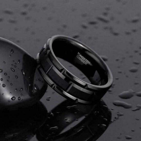 Stylish Black Man's Tungsten Ring