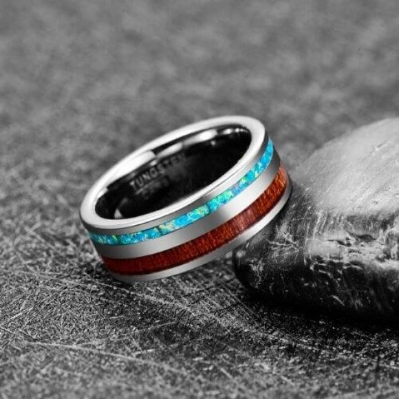 Man's Tungsten Ring 8 mm with Wood and Opal