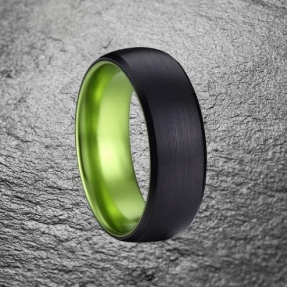 Super strong tungsten carbide mens ring, black and green
