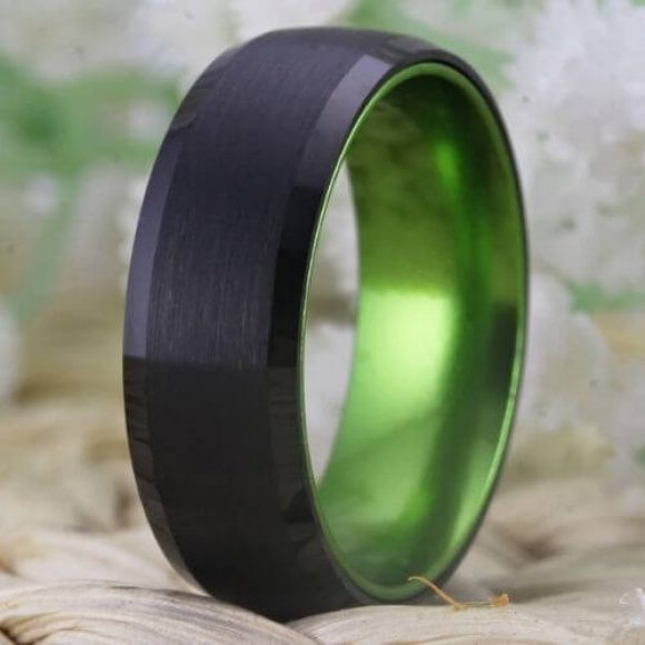Men's Black and Green Tungsten Ring