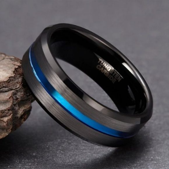 Black Tungsten Carbide Ring for Men with Groove of Blue